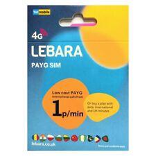 LEBARA Pay As You Go UK sim cards. 3GB Data UNLIMITED Min/Txts 100 International