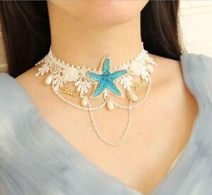 Women retro BOHO Mermaid Blue Sea Star White Crochet choker Short Necklace chain