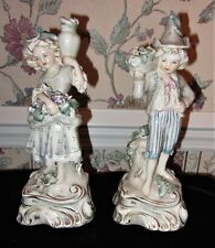 "ANTIQUE PAIR BOY & GIRL CORDEY 10.5"" TALL PORCELAIN FIGURINES  nUMBERS 5047 5048"
