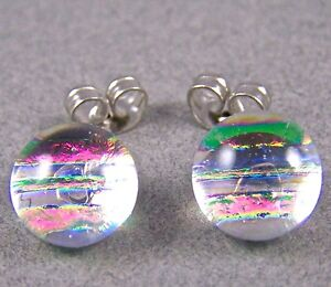 """DICHROIC Earrings Round Clear Magenta Opal Striped Textured Post 1/4"""" 8mm STUDS"""