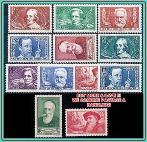 FRANCE 1936//38 INTELECTUALS SC#B48-59 MLH * CV$80.40 MUSIC, SCIENCE, MEDICINE