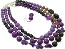 Bead Necklace Earring set Three Layers Multi Purple Mix