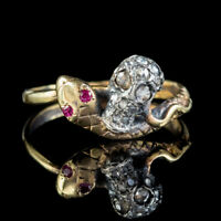 MEMENTO MORI DIAMOND RUBY SKULL SNAKE RING 15CT GOLD SILVER