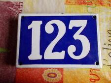 ANCIEN NUMERO *123* EMAILLE DE MAISON  PLAQUE EMAILLEE DE RUE 15cmx10cm