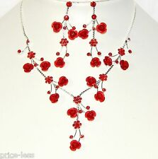 3D Red Rose Metal And Rhinestone Prom Flower Silver Necklace & Earrings Set