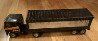 Vintage 1980's Buddy L Tractor Trailer Truck Black Pressed Steel 2 Piece
