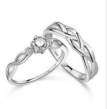 Unisex 925 Silver Plated Twist Pattern Adjustable CZ Open Engagement Ring Set