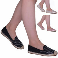 Womens Ladies Espadrille Pumps Diamante Flats Slip on Summer Holiday Shoes Size