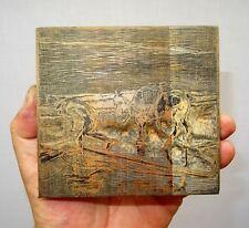 bois gravé original de livre - flandre le pêcheur de crevette à cheval