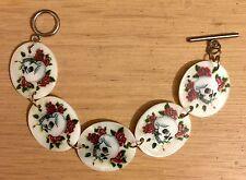 Skull & Roses Shell Pearl Cuff Bracelet Vintage Rockabilly Steampunk Day of Dead