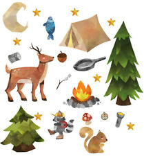 Camping Forest Animals Nursery Wall Stickers Watercolour