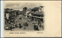 BOMBAY Mumbai Indien India Vintage Postcard ~1900 Street Scene People Rickshaw