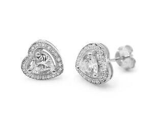 Genuine Sterling Silver Heart Love Stud Earrings Clear Cubic Zirconia Crystal