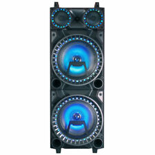 "Party Speaker 12"" X 2 LED Lights Karaoke 200w USB BT FM Radio Mp3 Playback"