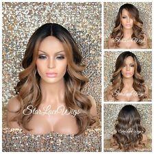 Full Wig Brown Dark Root Honey Blonde Highlights Wavy Long Middle Part Heat Safe