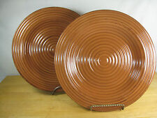 2 Tabletops Unlimited Gallery Rustico Brown Pumpkin Dinner Plates Hand Painted