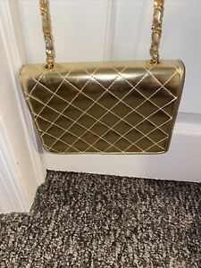 Lisette Vintage Gold Quilted Patent Leather Gold Tone Chain Evening Bag