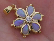 PE038 Genuine 9K SOLID Gold NATURAL Opal & Diamond DAISY Pendant Blossom Flower