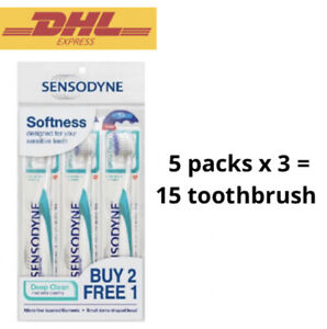 5 Packs Sensodyne Toothbrush (3'S) Deep Clean Soft Bristles for Sensitive Teeth