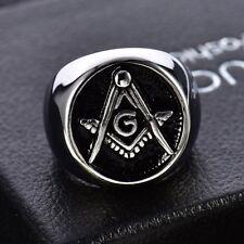 316L Silver Stainless Steel Men Black Mason Masonic Freemason Finger Ring Band