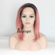 Pink Bob Lace Front Wig Heat Synthetic Resistant Fiber Hair Black Roots Wigs