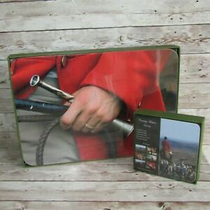 Country Matters Kitchen Dining 6 Placemats 6 Coasters Hunting Horses Dogs NEW