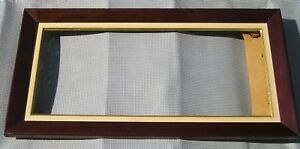 Antique Vintage Mid Century Modern Long Wood Linen Picture Frame 10 x 23 1/4