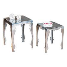Beistelltisch Set Wohnzimmertisch Tisch Wohnzimmer 2-teilig Alu silber glänzend