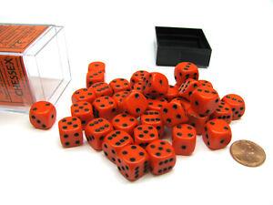 Opaque 12mm D6 Chessex Dice Block (36 Die) - Orange with Black Pips