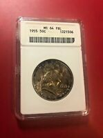 1955 HALF DOLLAR ANACS MS 64 FBL TONED OLD HOLDER