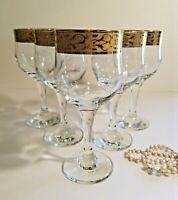 Elegant Set of 5 Mid-Century 24k Gold Wine Glasses by Pasabahce in Turkey