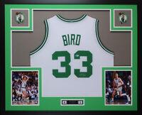 Larry Bird Autographed and Framed White Celtics  Jersey Auto Beckett COA D10-L