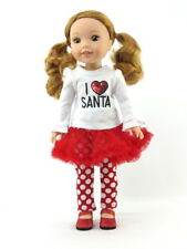 """I Love Santa Christmas Outfit Fits Wellie Wishers 14.5"""" American Girl Clothes"""