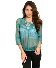 Sexy Green Lace Crochet Mesh Baby doll Empire Blouse Peasant Top New Gypsy Posh