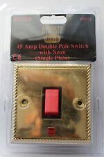 Sector 1G Die Cast Georgian Rope Edge Brass 45A DP red switch neon black insert