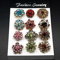 12pcs Mixed Mini Colorful Rhinestone Crystal Brooch Pin DIY Wedding Bouquet AU
