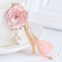 Rose Flower Keychain Crystal Bow Chain Tassel Key Ring Unique Pendant Jewelry