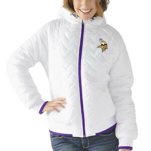 Minnesota Vikings Womens Drop Back Hooded Full Zip Jacket White by G-III
