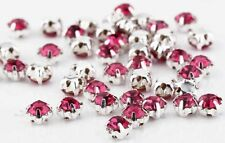 CraftbuddyUS100pcs 4.3mm Sew On Cerise Silver Set Glass Crystal Rhinestone Gems