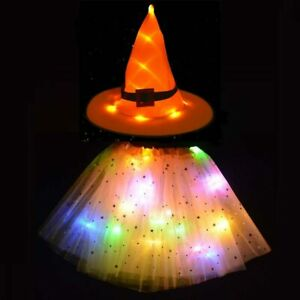 Kids LED Glow Light Witch Hat Spider Web Skirt Halloween Costume Cosplay Dress