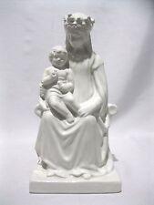 Statue from Italy sitting Madonna Child Figure Catholic white glaze ceramic