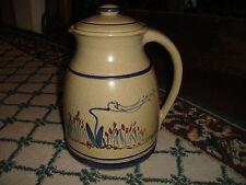 Superb Stoneware Pottery Pitcher W/Lid-Flower Painted Sides-LQQK-Beige Color