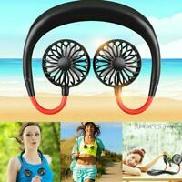 USB Rechargeable Lazy Neck Hanging Dual Mini Cooling Sports Rest Fan Portable