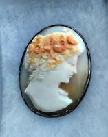 ART DECO STERLING SILVER & CARVED SHELL CAMEO FROM EUROPE VERY DETAILED & LOVELY