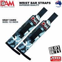 DAM GREY CAMO WEIGHT LIFTING GYM TRAINING WRIST SUPPORT BAR STRAPS WRAPS