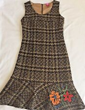 $189 OILILY Stunning Wool Embroidered Womens Sleeveless Flair Dress 36