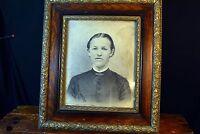 """Antique Gold Picture Frame Oak Ornate Gesso – Large 23""""X26"""" 3 Part Portrait"""