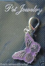 Pet Jewelry Dog Cat Collar Clip-On Fashion Charm Pendant Violet Butterfly New