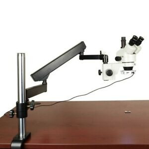 7-45X Zoom Stereo Trinocular Microscope+Articulating Arm Stand+64 LED Ring Light