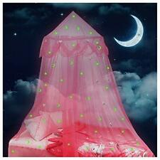 Lamdgbway Bed Canopy for Girls Glow in The Dark Stars and Moon Princess Mosquito